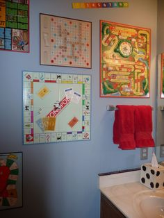 Kids bathroom ?. I did this in one house! Fun to collect vintage game boards also!