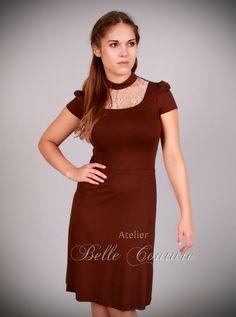 Farb- und Stilberatung mit www.farben-reich.com - Kleid Lana Spitze braun/creme uni von dressed by Atelier Belle Couture auf DaWanda.com