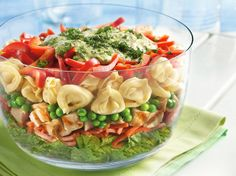 """Layered Tortellini Pesto Chicken Salad  I'm so """"chickened out"""", I think I'll try bacon instead."""