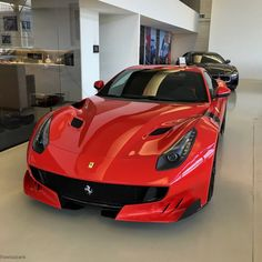 Ferrari F12 TDF painted in Rosso Corsa  Photo taken by: @swizzcars on Instagram (He is also the owner of the car)