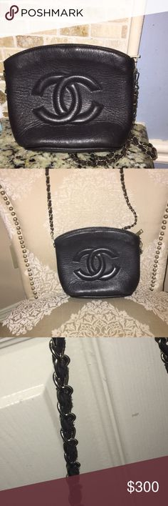 Black Vintage Chanel Handbag Black vintage Chanel handbag. Item was repaired by Chanel (the chain). The bag is in good condition. The bag is vintage there is some wear on the leather in the front. The chain is the original chain and there is wear. The bag is in great condition and has a lot of life left. As many know Chanel will not repair a bag that isn't authentic. The bag is authentic and price is firm. Great deal for a vintage Chanel. Pictures show wear on the bottom of the bag. Minor…