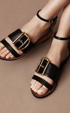 sandale en noir femme Bally plate avec une grande boucle métallique effet ceinture  large Sandales Cuir f804270b94c