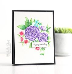 Beautiful Bouquets - Ranunculus: WPlus9, watercolor, flower sketch, The Card Grotto: