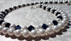 Blue and White double strand necklaceHospice by jewelsforhope, $100.00