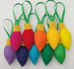 """DIY Felt C9 Light ornaments. Another Pinner said: """"Can purchase on etsy or make them yourself"""""""