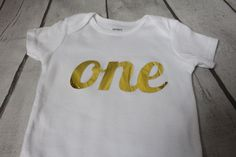 Birthday Girl ONESIE  - metalic gold ONE - First birthday outfit - Bodysuit,  ONE word metalic gold by TulleVogue on Etsy
