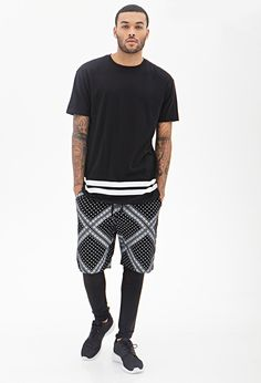 Tops [Shirt] (black, tee, stripes, white) Shorts (bandana print, black white, polka dots) Leggings (black) Sneakers (black)
