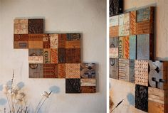 Untitled tiles - rearrangeable modular wall tiles, handcrafted from exotic hardwoods, salvaged materials, vintage wood crates, and more (look out for the stripey ones made out of coloured pencils!).  From Untitled-Art.com, via Magnetic Grain