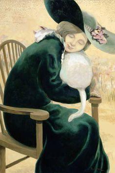 Cat and people paintings. Sandra Biermann - Woman in Green.