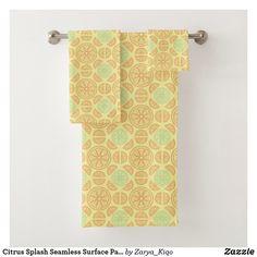 Citrus Splash Seamless Surface Pattern Design Bath Towel Set Bath Towel Sets, Bath Design, Artwork Design, Surface Pattern Design, Hand Towels, Print Design, Prints, Things To Sell, Home Decor
