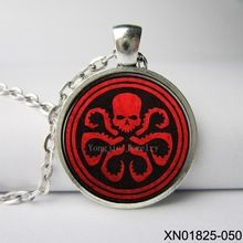 Marvel avengers hydra shield red skull logo glass dome necklaces stue,Movie handmade Jewelry //Price: $US $4.37 & FREE Shipping //    #marvel