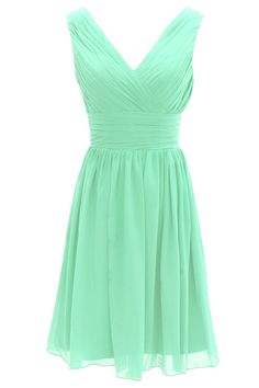 Dressystar Short Bridesmaid Dress Chiffon Party Evening Dress Mint Size 4