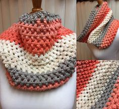 Crochet Cowl, Puff Stitch Cowl, Peach Cowl, Peach Scarf, Striped Cowl, Multi Color Cowl, Gifts for Her, Circle Scarf, Crocheted Cowl by CozyNCuteCrochet on Etsy