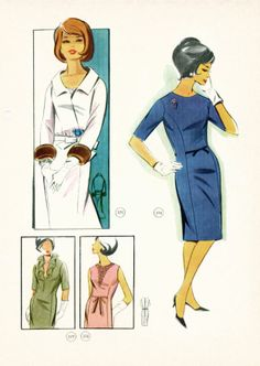 60's library book 375 (blouson that goes with 374 dress), 376, 377, 378 (dress with variations). Also in supplement 98