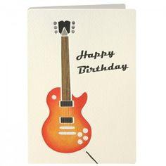 Birthday Guitar Retro Press Card