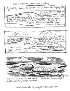 Easy Drawing How to Draw Worksheets for The Young Artist: Printable How To Draw Ocean Waves Worksheet Basic Drawing, Drawing Lessons, Drawing Techniques, Ocean Drawing Easy, How To Draw Ocean, How To Draw Water, Ocean Wave Drawing, Water Drawing, Art Handouts