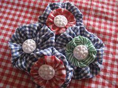 Gingham Yo-yo Brooches/ Pins by RubyRed06, via Flickr