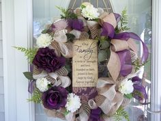 Plum~Door Wreath~Our Family Sign~ Burlap & Sheer Plum Bow~Greenery~Mesh~Flowers