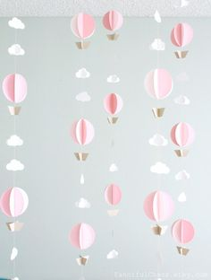 Hot Air Balloon Paper Garland- Wedding, Birthday, Bridal Shower, Baby Shower, Party Decorations, Baby Nursery, Mobile, Photo Prop