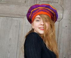 Unique funny nuno felted beret in vivid colors with geometric spiral design . OOAK (59.00 USD) by filcAlki