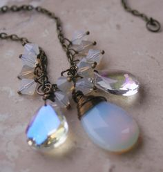 Iridescent Opalite Glass Necklace