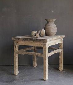 Vierkant Uniek Authentiek houten bijzet tafeltje