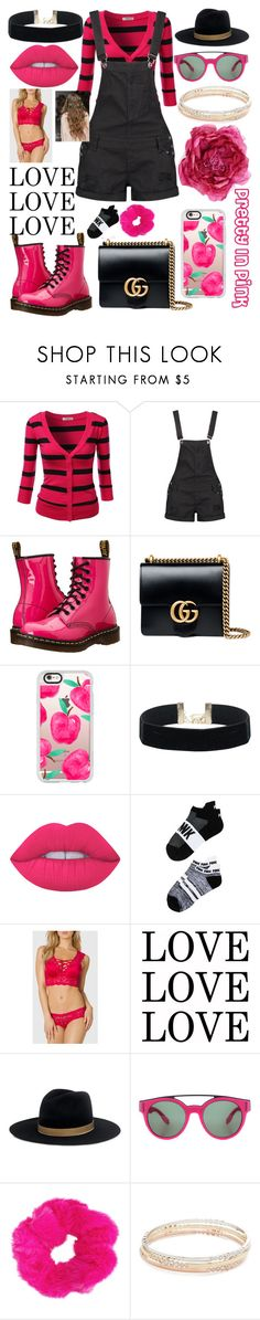 """""""Pretty In Pink 💋 9.25.16"""" by ccatprvncess ❤ liked on Polyvore featuring J.TOMSON, Boohoo, Dr. Martens, Gucci, Casetify, Lime Crime, Victoria's Secret, La Senza, IRO and Givenchy"""