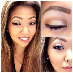 Products Used: Anastasia Beverly Hills Brow Wiz in Medium Ash - MAC Eyeshadows in Mylar (below brow bone), Soft Brown (ties all shadows together), Saddle (crease), Goldmine (center of the lid), and Stars N' Rockets (bottom outer corner) - Stila Magnificent Metals Foil Finish Eye Shadows in Kitten (over Goldmine in the center of the lid) - Sephora Contour Eye Pencil 12-Hour Wear Waterproof in Tiramisu