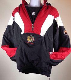 Vtg 1990s Chicago Blackhawks Starter Parka Pullover Coat Jacket Men's XXL New | eBay