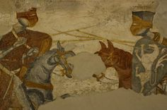 Frescoes of 13th century North Italian Soldiers at Schloss Rodenegg (Rodeneck)
