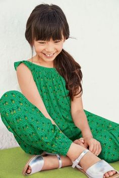 Green Pineapple Print Harem Playsuit (3-16ani)