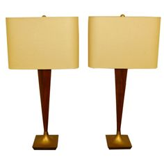 Pair of Mid-Century Modern Teak and Brass Table Lamps | From a unique collection of antique and modern table lamps at https://www.1stdibs.com/furniture/lighting/table-lamps/