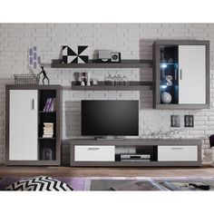 Essen Living Room Set 2 In Smoke Silver White Fronts With LED - Living Room Furniture Sets & Packages, Furnitureinfashion UK