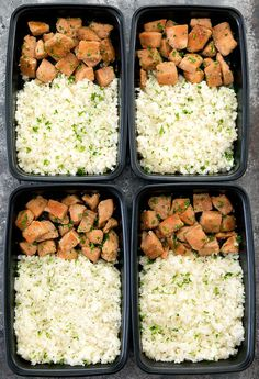 Honey Garlic Butter Chicken with Cauliflower Rice Meal Prep. Chicken is coated in a honey garlic butter sauce and served with garlic butter rice for a delicious low carb and easy weekly meal prep. Lunch Meal Prep, Healthy Meal Prep, Healthy Snacks, Healthy Eating, Healthy Recipes, Easy Recipes, Easy Weekly Meals, Garlic Butter Chicken, Macro Meals