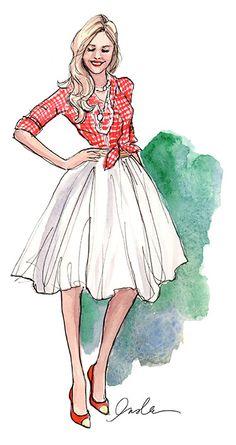 illustration by inslee haynes Illustration Mode, Fashion Illustration Sketches, Fashion Design Sketches, Moda Fashion, Skirt Fashion, Fashion Art, Preppy Fashion, Fashion Drawings, Classy Fashion