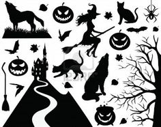 Collection Of A Halloween Silhouettes. Royalty Free Cliparts, Vectors, And Stock Illustration. Image 7389483.