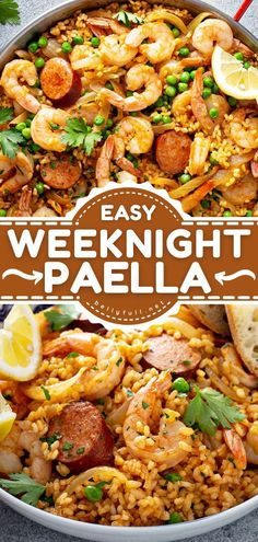 This quick and easy main dish is amazingly flavorful! Thanks to simple steps, this Spanish Paella recipe is a great option for weeknights. Plus, there's no limit to the ingredients you can use in this… Quick Easy Meals, Easy Dinner Recipes, Delicious Recipes, Potluck Recipes, Easy Dinners, Seafood Recipes, Beef Recipes, Cheap Recipes, Simple Recipes