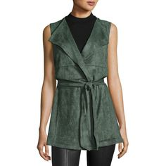 Neiman Marcus Long Belted Wrap Vest ($28) ❤ liked on Polyvore featuring outerwear, vests, green sage, green waistcoat, sleeveless waistcoat, vest waistcoat, open front vest and green vest