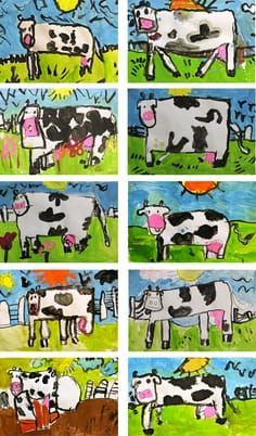 Cow Art in oil pastel and liquid tempera paints. Kindergarten Art Lessons, Art Lessons For Kids, Art Lessons Elementary, Art For Kids, Kindergarten Drawing, Deep Space Sparkle, Animal Art Projects, 2nd Grade Art, Tech Art