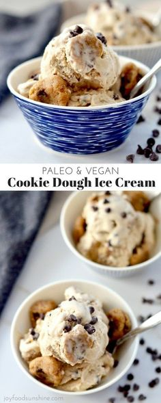 Vegan & Paleo Cookie Dough Ice Cream! A healthy & delicious recipe absolutely loaded with chunks of cookie dough! Gluten, dairy & refined sugar free!