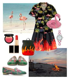 """""""Flamingo Flame"""" by alexxa-b ❤ liked on Polyvore featuring WithChic, Skinnydip, American Vintage, Charlotte Olympia, NYX, Tom Ford, Vivani, flame, flamingo and flamenco"""
