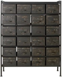 Industrial 24 drawer chest by Weylandts. French Industrial, Industrial House, Industrial Interiors, Industrial Chic, Industrial Furniture, Industrial Drawers, Industrial Architecture, Wooden Furniture, Custom Furniture