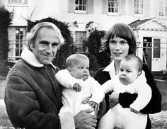 Director Richard Fleischer and Mia Farrow hold her twin sons, Matthew Phineas and Sascha Villiers 1971