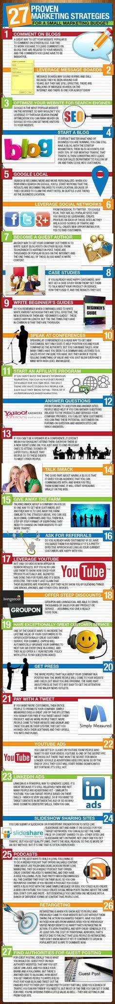 27 proven marketing strategies  #Infografiche, statistiche e spunti di riflessione.  #marketing #diellegrafica