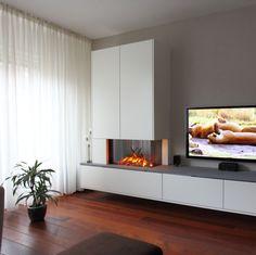 Living Room Decor Fireplace, Home Fireplace, Modern Fireplace, Fireplace Design, Home Living Room, Sofa Bed Design, Living Room Tv Unit Designs, Küchen Design, Home Decor