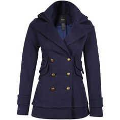 Smythe Double Collar Peacoat ❤ liked on Polyvore