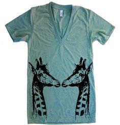 Unisex GIRAFFES Deep V Neck T Shirt - American Apparel Vneck Tshirt - XS S M L XL (15 Color Options)