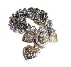 Bracelet, Vintage Pearls, Hearts Jewelry by dabchickvintagegems on Etsy