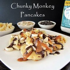 Healthy Chunky Monkey Pancakes - Gluten-Free Pancakes with Nutty Almond Drizzle, Easy Dairy-Free Chocolate Sauce, Bananas, and Sliced Almonds