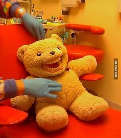 This teddy bear is supposed to make kids feel more at ease at the dentist  OMG my mom has these at her office they are TERRIFYING (especially the stingray...seriously) @Tina Roden